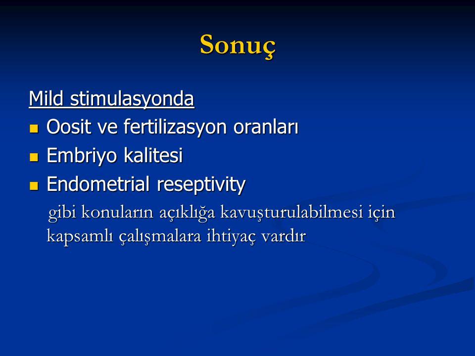 Sonuç Mild stimulasyonda Oosit ve fertilizasyon oranları Oosit ve fertilizasyon oranları Embriyo kalitesi Embriyo kalitesi Endometrial reseptivity End