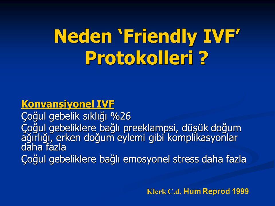 Neden 'Friendly IVF' Protokolleri ? Konvansiyonel IVF Çoğul gebelik sıklığı %26 Çoğul gebeliklere bağlı preeklampsi, düşük doğum ağırlığı, erken doğum