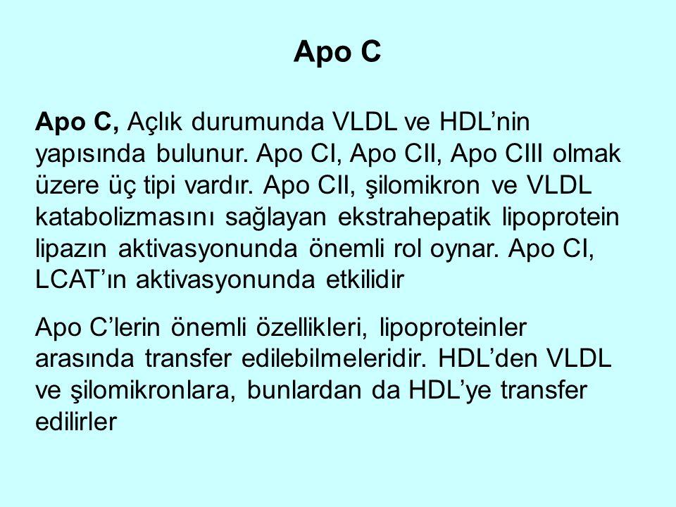 Apo C Apo C, Açlık durumunda VLDL ve HDL'nin yapısında bulunur. Apo CI, Apo CII, Apo CIII olmak üzere üç tipi vardır. Apo CII, şilomikron ve VLDL kata