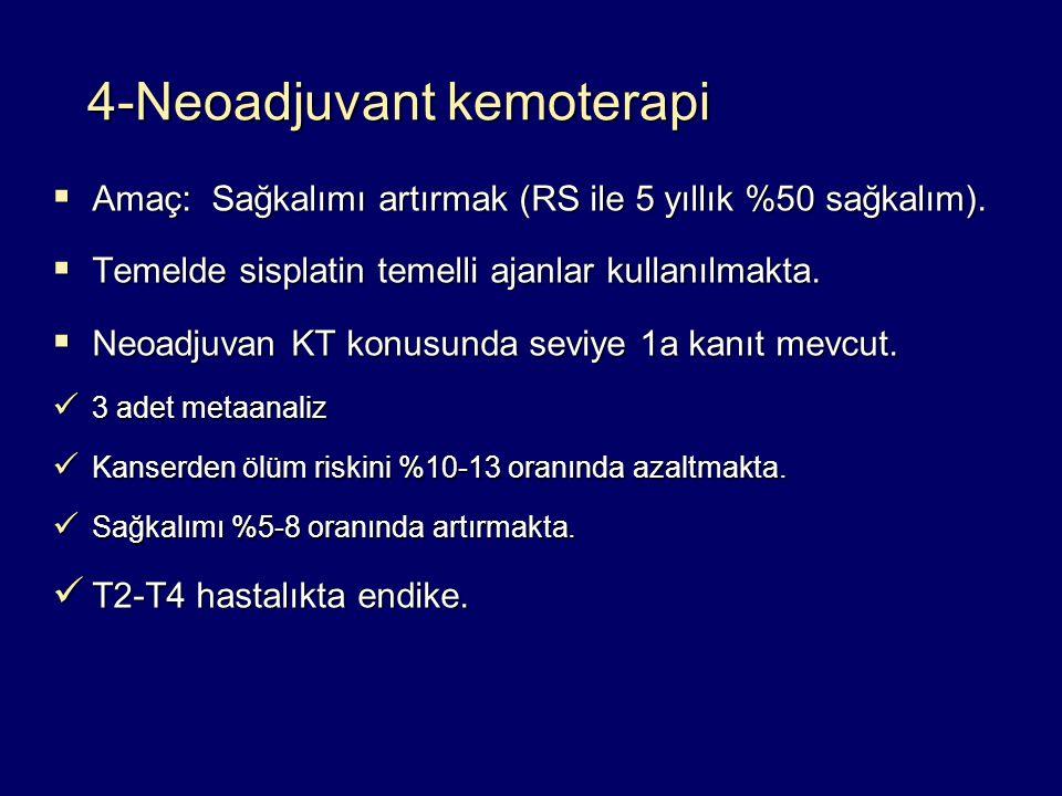  Amaç: Sağkalımı artırmak (RS ile 5 yıllık %50 sağkalım).  Temelde sisplatin temelli ajanlar kullanılmakta.  Neoadjuvan KT konusunda seviye 1a kanı