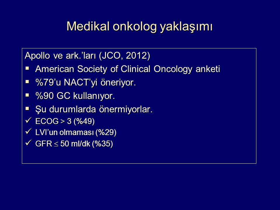 Medikal onkolog yaklaşımı Apollo ve ark.'ları (JCO, 2012)  American Society of Clinical Oncology anketi  %79'u NACT'yi öneriyor.  %90 GC kullanıyor