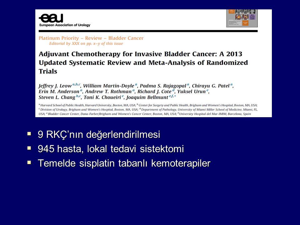  9 RKÇ'nın değerlendirilmesi  945 hasta, lokal tedavi sistektomi  Temelde sisplatin tabanlı kemoterapiler
