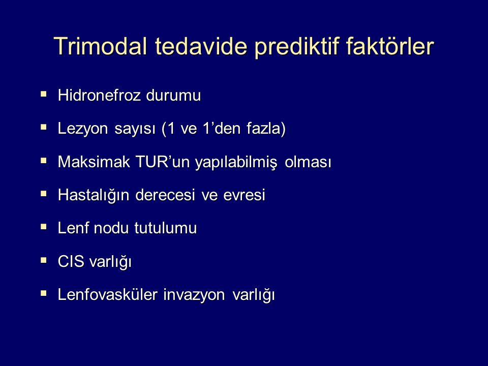 Trimodal tedavide prediktif faktörler  Hidronefroz durumu  Lezyon sayısı (1 ve 1'den fazla)  Maksimak TUR'un yapılabilmiş olması  Hastalığın derec