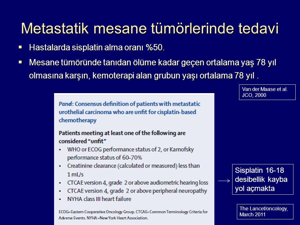 Metastatik mesane tümörlerinde tedavi  Hastalarda sisplatin alma oranı %50.  Mesane tümöründe tanıdan ölüme kadar geçen ortalama yaş 78 yıl olmasına