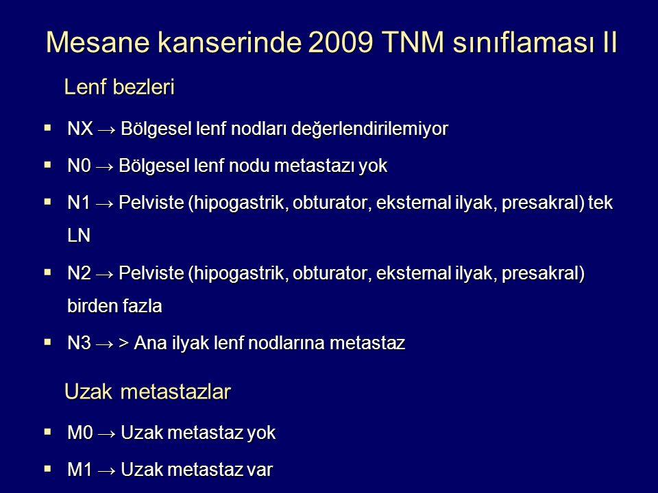 Mesane kanserinde 2009 TNM sınıflaması II Lenf bezleri Lenf bezleri  NX → Bölgesel lenf nodları değerlendirilemiyor  N0 → Bölgesel lenf nodu metasta