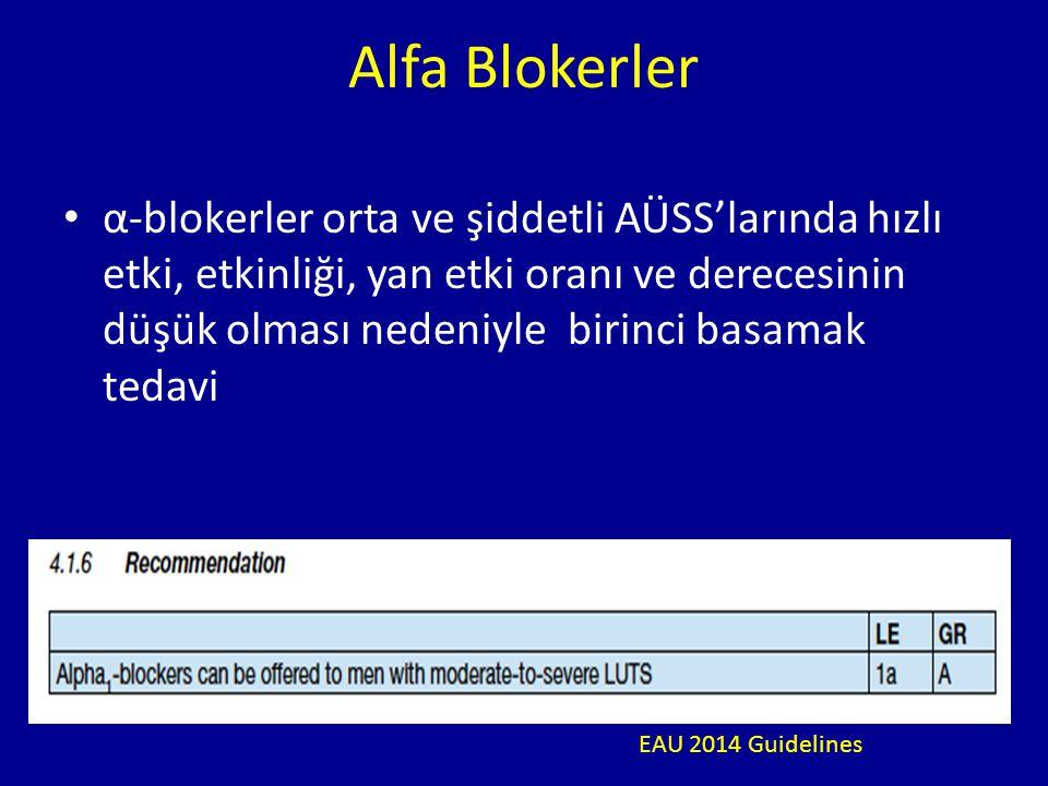 α-blokerler orta ve şiddetli AÜSS'larında hızlı etki, etkinliği, yan etki oranı ve derecesinin düşük olması nedeniyle birinci basamak tedavi Alfa Blokerler EAU 2014 Guidelines