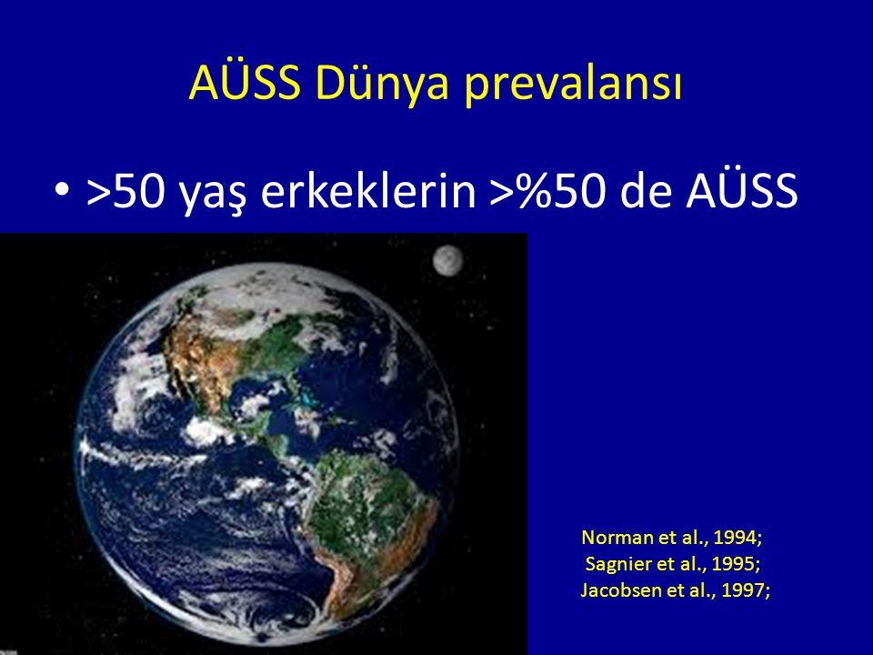 Norman et al., 1994; Sagnier et al., 1995; Jacobsen et al., 1997; >50 yaş erkeklerin >%50 de AÜSS AÜSS Dünya prevalansı