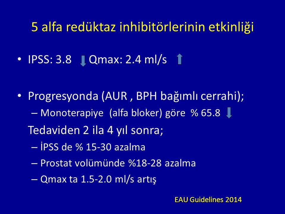 5 alfa redüktaz inhibitörlerinin etkinliği IPSS: 3.8 Qmax: 2.4 ml/s Progresyonda (AUR, BPH bağımlı cerrahi); – Monoterapiye (alfa bloker) göre % 65.8 Tedaviden 2 ila 4 yıl sonra; – İPSS de % 15-30 azalma – Prostat volümünde %18-28 azalma – Qmax ta 1.5-2.0 ml/s artış EAU Guidelines 2014