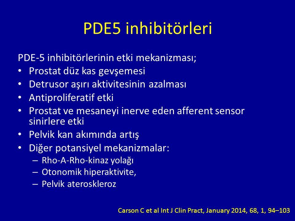 PDE-5 inhibitörlerinin etki mekanizması; Prostat düz kas gevşemesi Detrusor aşırı aktivitesinin azalması Antiproliferatif etki Prostat ve mesaneyi inerve eden afferent sensor sinirlere etki Pelvik kan akımında artış Diğer potansiyel mekanizmalar: – Rho-A-Rho-kinaz yolağı – Otonomik hiperaktivite, – Pelvik ateroskleroz PDE5 inhibitörleri Carson C et al Int J Clin Pract, January 2014, 68, 1, 94–103