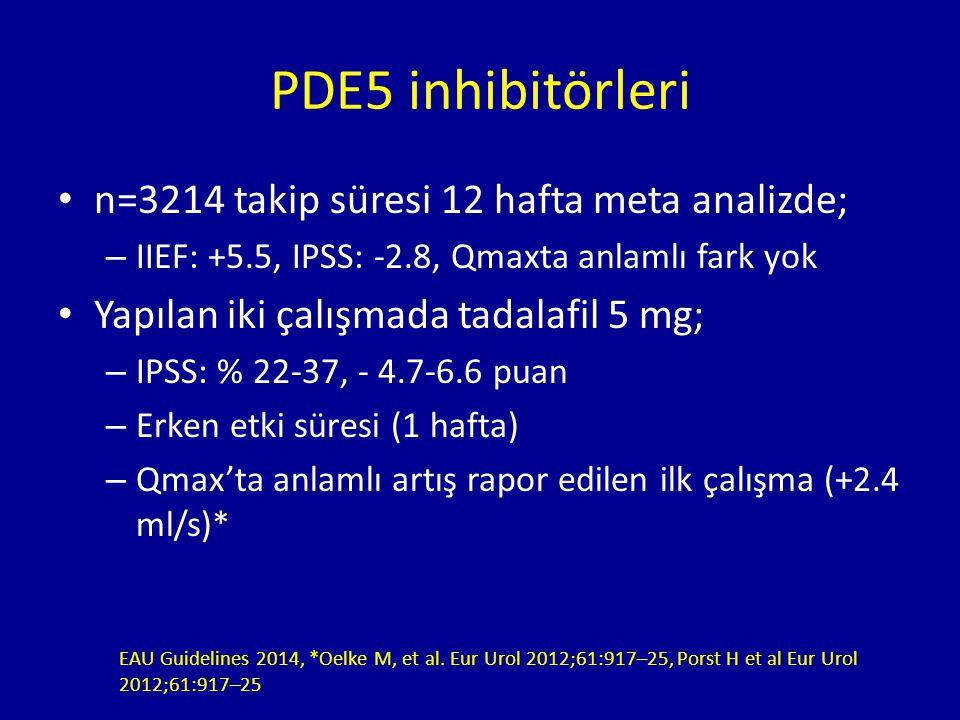 n=3214 takip süresi 12 hafta meta analizde; – IIEF: +5.5, IPSS: -2.8, Qmaxta anlamlı fark yok Yapılan iki çalışmada tadalafil 5 mg; – IPSS: % 22-37, - 4.7-6.6 puan – Erken etki süresi (1 hafta) – Qmax'ta anlamlı artış rapor edilen ilk çalışma (+2.4 ml/s)* PDE5 inhibitörleri EAU Guidelines 2014, *Oelke M, et al.