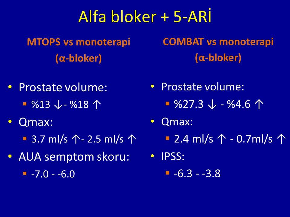 MTOPS vs monoterapi (α-bloker) Prostate volume:  %13 ↓- %18 ↑ Qmax:  3.7 ml/s ↑- 2.5 ml/s ↑ AUA semptom skoru:  -7.0 - -6.0 COMBAT vs monoterapi (α-bloker) Prostate volume:  %27.3 ↓ - %4.6 ↑ Qmax:  2.4 ml/s ↑ - 0.7ml/s ↑ IPSS:  -6.3 - -3.8 Alfa bloker + 5-ARİ