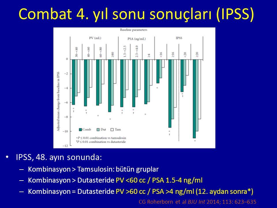 Combat 4. yıl sonu sonuçları (IPSS) IPSS, 48. ayın sonunda: – Kombinasyon > Tamsulosin: bütün gruplar – Kombinasyon > Dutasteride PV <60 cc / PSA 1.5-