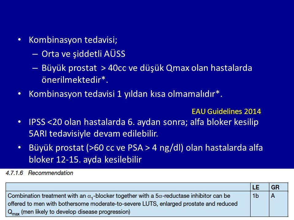 Kombinasyon tedavisi; – Orta ve şiddetli AÜSS – Büyük prostat > 40cc ve düşük Qmax olan hastalarda önerilmektedir*. Kombinasyon tedavisi 1 yıldan kısa