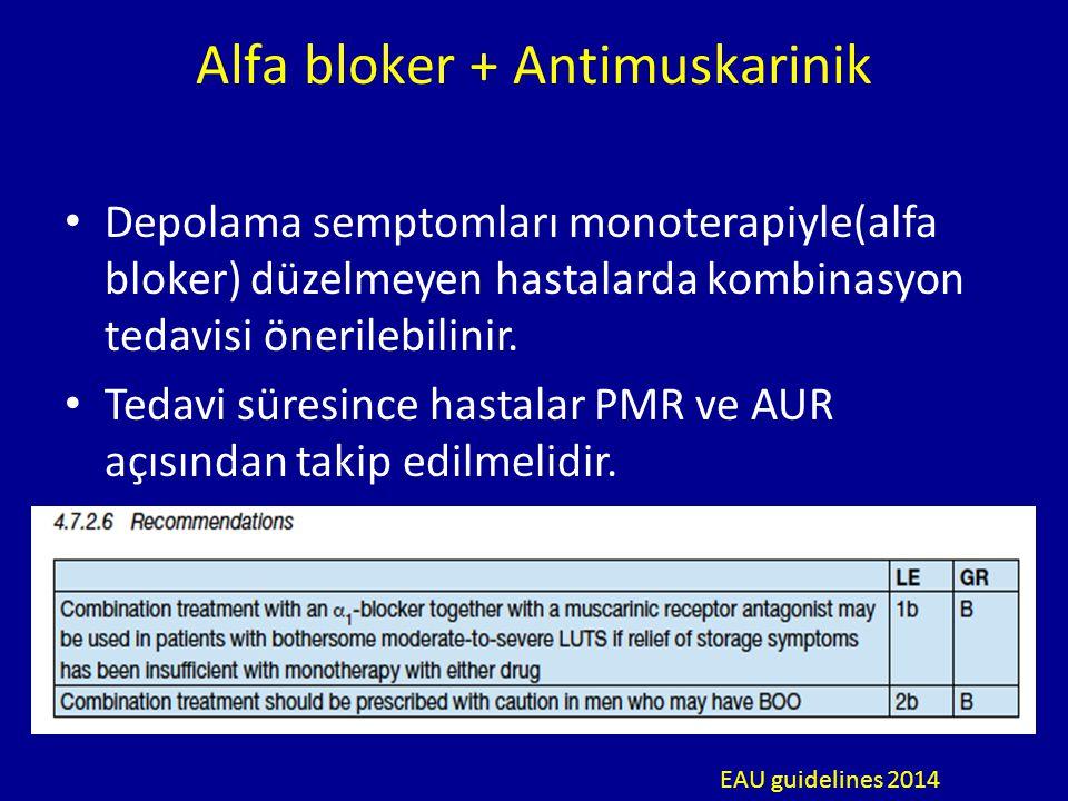 Alfa bloker + Antimuskarinik Depolama semptomları monoterapiyle(alfa bloker) düzelmeyen hastalarda kombinasyon tedavisi önerilebilinir. Tedavi süresin