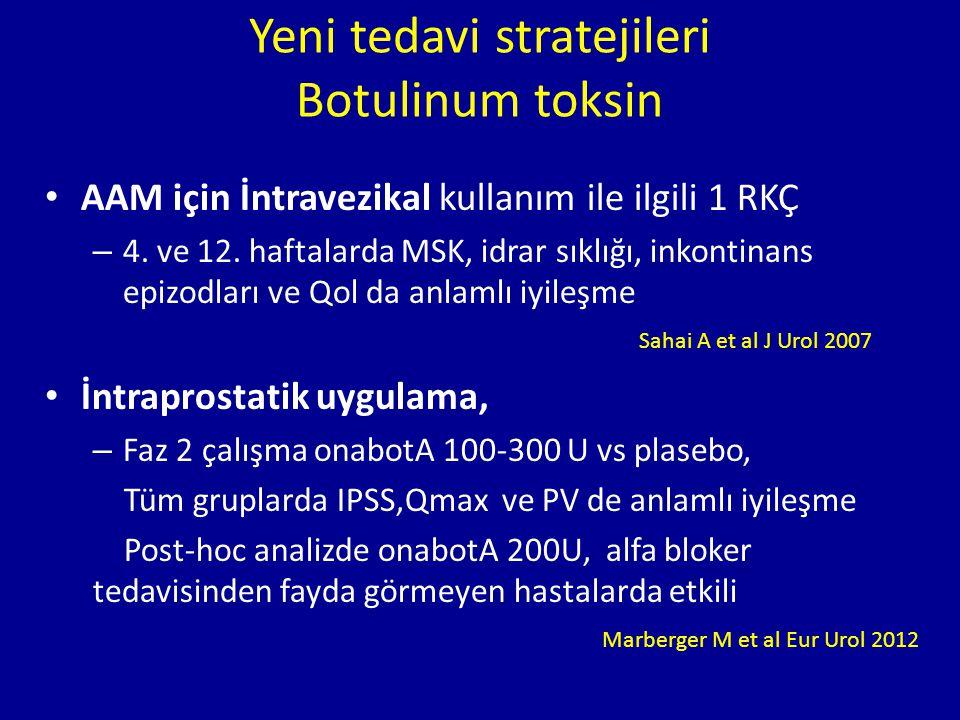 Yeni tedavi stratejileri Botulinum toksin AAM için İntravezikal kullanım ile ilgili 1 RKÇ – 4. ve 12. haftalarda MSK, idrar sıklığı, inkontinans epizo
