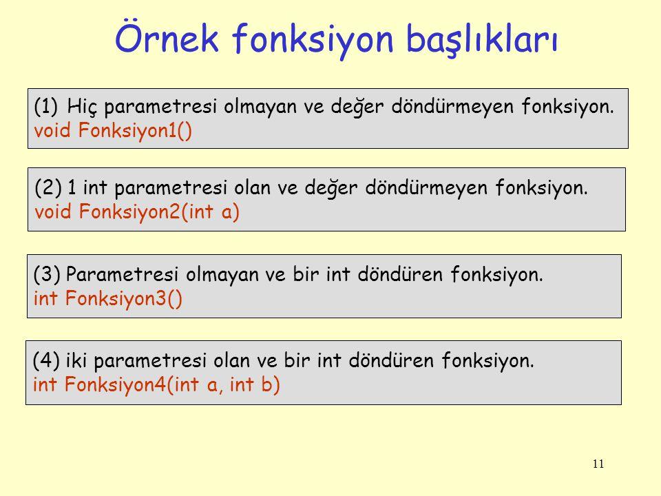 11 Örnek fonksiyon başlıkları (1)Hiç parametresi olmayan ve değer döndürmeyen fonksiyon.
