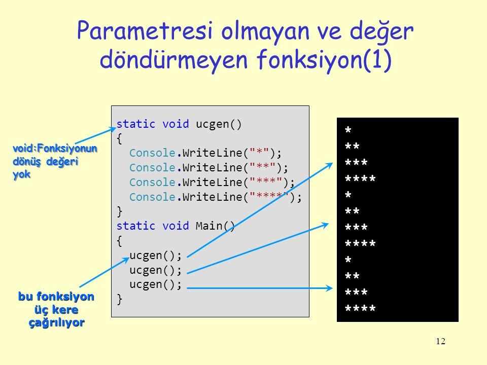 12 Parametresi olmayan ve değer döndürmeyen fonksiyon(1) static void ucgen() { Console.WriteLine( * ); Console.WriteLine( ** ); Console.WriteLine( *** ); Console.WriteLine( **** ); } static void Main() { ucgen(); } * ** *** **** * ** *** **** * ** *** **** void:Fonksiyonun dönüş değeri yok bu fonksiyon üç kere çağrılıyor