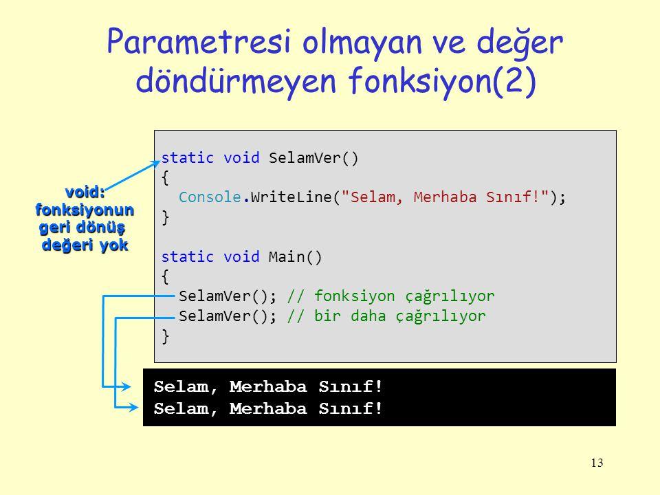 13 Parametresi olmayan ve değer döndürmeyen fonksiyon(2) static void SelamVer() { Console.WriteLine( Selam, Merhaba Sınıf! ); } static void Main() { SelamVer(); // fonksiyon çağrılıyor SelamVer(); // bir daha çağrılıyor } Selam, Merhaba Sınıf.