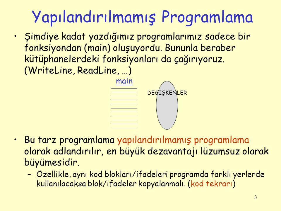 3 Yapılandırılmamış Programlama Şimdiye kadat yazdığımız programlarımız sadece bir fonksiyondan (main) oluşuyordu.