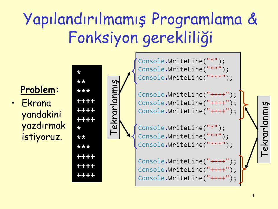 4 Yapılandırılmamış Programlama & Fonksiyon gerekliliği Console.WriteLine( * ); Console.WriteLine( ** ); Console.WriteLine( *** ); Console.WriteLine( ++++ ); Console.WriteLine( * ); Console.WriteLine( ** ); Console.WriteLine( *** ); Console.WriteLine( ++++ ); * ** *** ++++ * ** *** ++++ Problem: Ekrana yandakini yazdırmak istiyoruz.