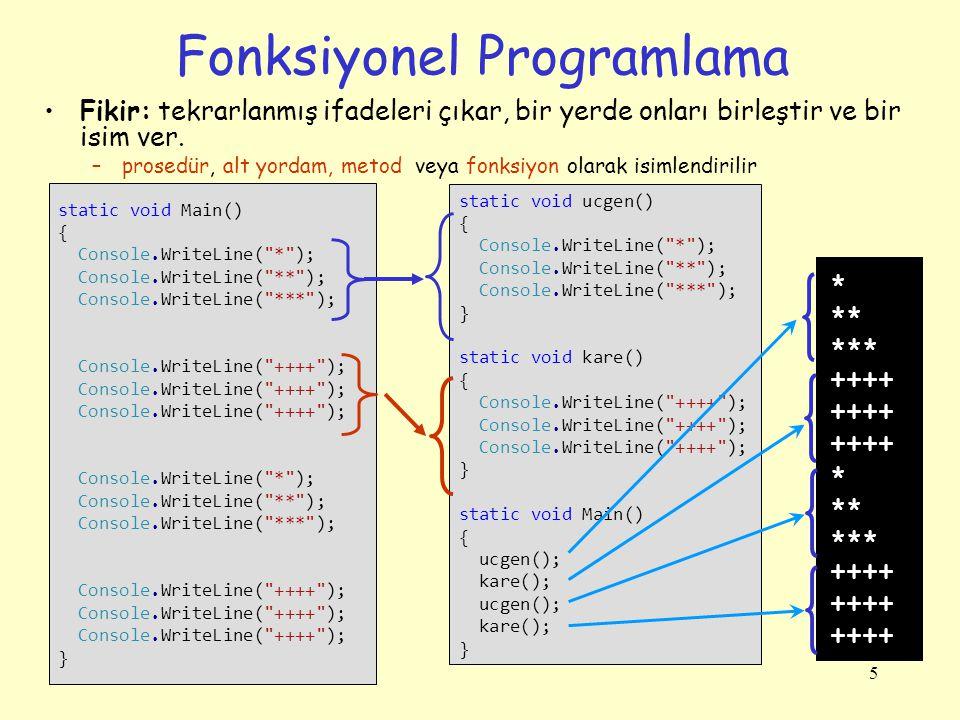 6 Fonksiyonel Programlamanın Avantajları Kod tekrarlamalarını önler Kodumuzu küçük parçalara ayırıp daha kolay anlama ve modifiye edebiliriz.