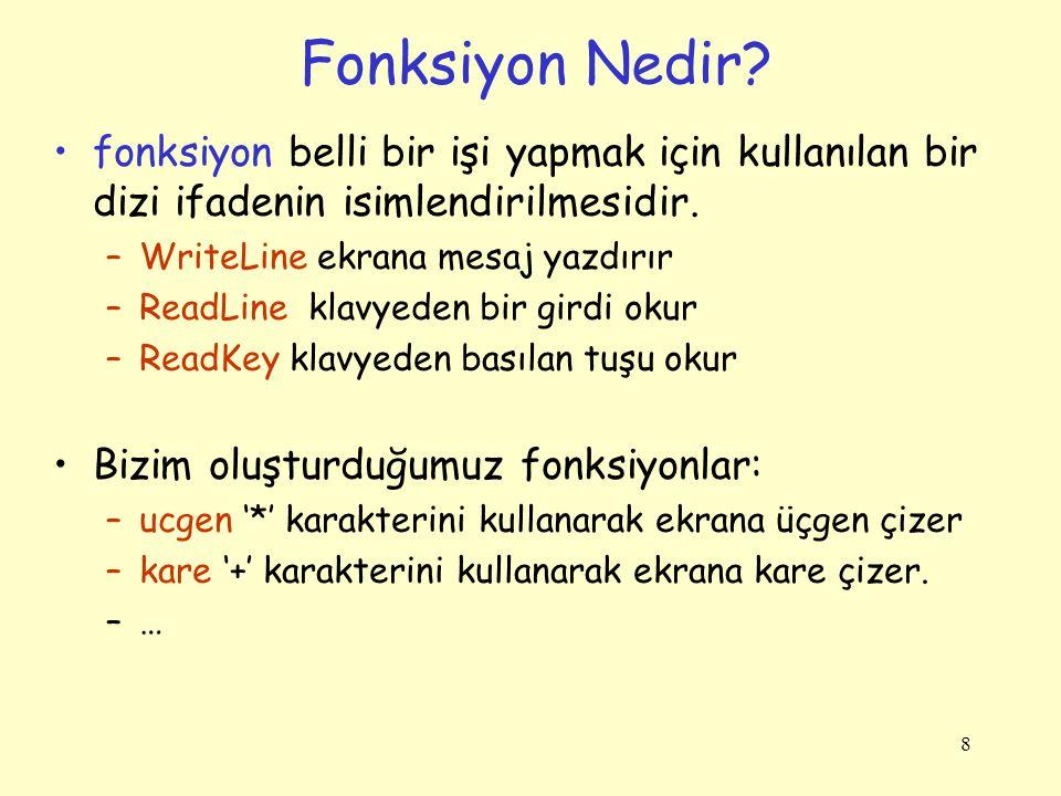 9 Her fonksiyonda bulunması gerekenler: fonksiyon başlığı Kod bloğu {….} –Fonksiyon gövdesini kapsar.