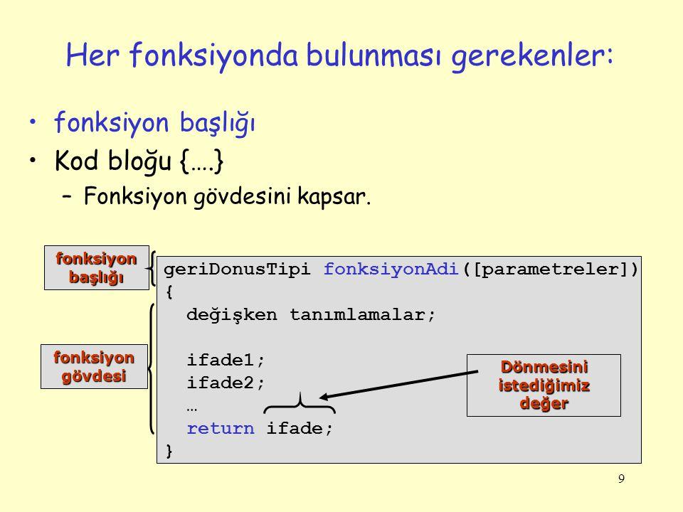 10 Fonksiyon Başlığı Geri dönüş tipi sonra fonksiyon adı ve opsiyonel olarak parantez içinde parametrelerden oluşur.