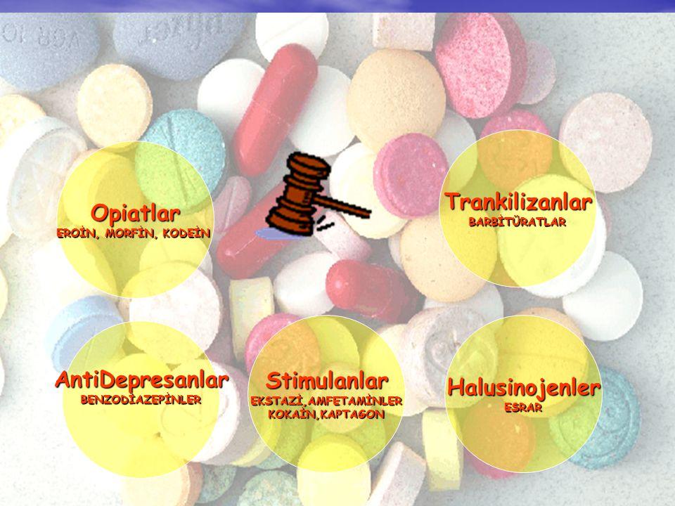 Opiatlar EROİN, MORFİN, KODEİN AntiDepresanlar BENZODİAZEPİNLER Stimulanlar EKSTAZİ,AMFETAMİNLERKOKAİN,KAPTAGON Halusinojenler ESRAR Trankilizanlar BARBİTÜRATLAR