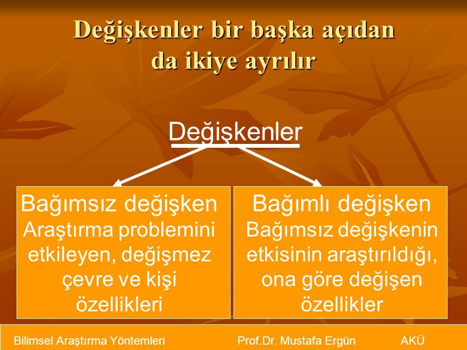 Bilimsel Araştırma Yöntemleri Prof.Dr. Mustafa Ergün AKÜ Değişkenler bir başka açıdan da ikiye ayrılır Değişkenler Bağımsız değişken Araştırma problem