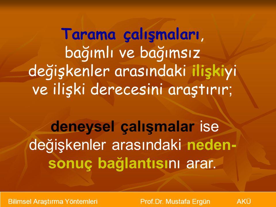 Bilimsel Araştırma Yöntemleri Prof.Dr. Mustafa Ergün AKÜ Tarama çalışmaları, bağımlı ve bağımsız değişkenler arasındaki ilişkiyi ve ilişki derecesini