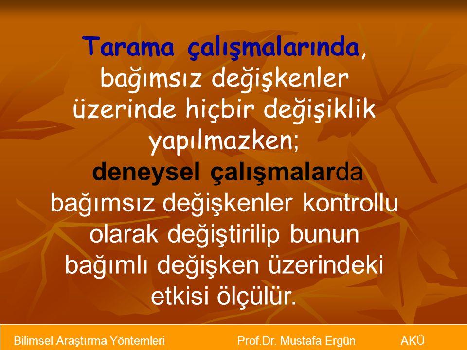 Bilimsel Araştırma Yöntemleri Prof.Dr. Mustafa Ergün AKÜ Tarama çalışmalarında, bağımsız değişkenler üzerinde hiçbir değişiklik yapılmazken ; deneysel