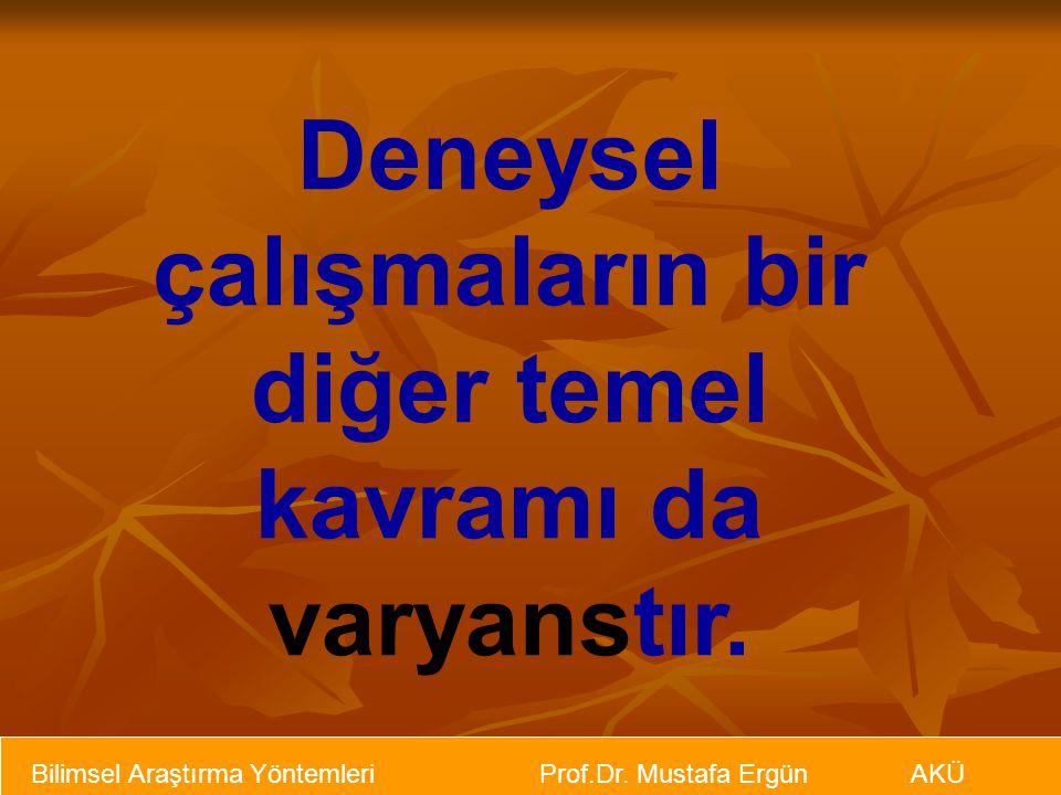Bilimsel Araştırma Yöntemleri Prof.Dr. Mustafa Ergün AKÜ Deneysel çalışmaların bir diğer temel kavramı da varyanstır.