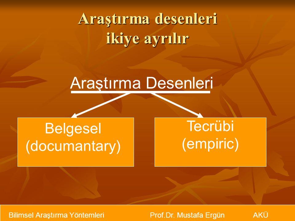Araştırma desenleri ikiye ayrılır Araştırma Desenleri Belgesel (documantary) Tecrübi (empiric)