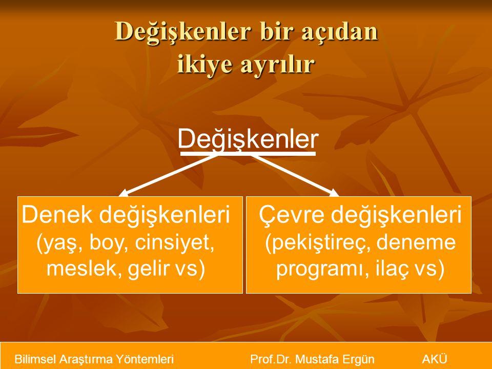Bilimsel Araştırma Yöntemleri Prof.Dr. Mustafa Ergün AKÜ Değişkenler bir açıdan ikiye ayrılır Değişkenler Denek değişkenleri (yaş, boy, cinsiyet, mesl