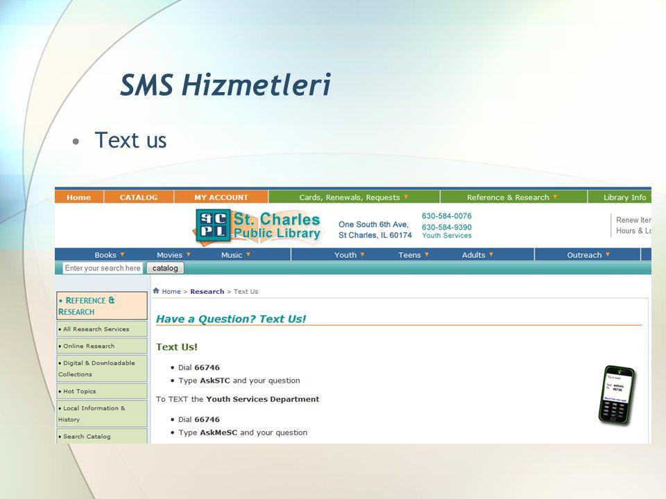 Text us SMS Hizmetleri