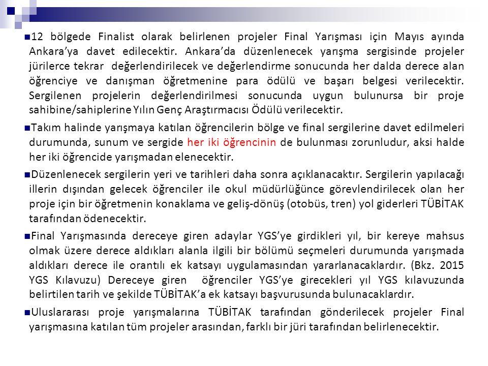 12 bölgede Finalist olarak belirlenen projeler Final Yarışması için Mayıs ayında Ankara'ya davet edilecektir. Ankara'da düzenlenecek yarışma sergisind