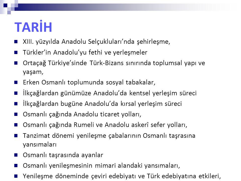 TARİH XIII. yüzyılda Anadolu Selçukluları'nda şehirleşme, Türkler'in Anadolu'yu fethi ve yerleşmeler Ortaçağ Türkiye'sinde Türk-Bizans sınırında toplu