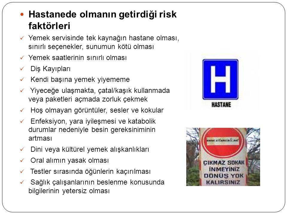 Hastanede olmanın getirdiği risk faktörleri Yemek servisinde tek kaynağın hastane olması, sınırlı seçenekler, sunumun kötü olması Yemek saatlerinin sı