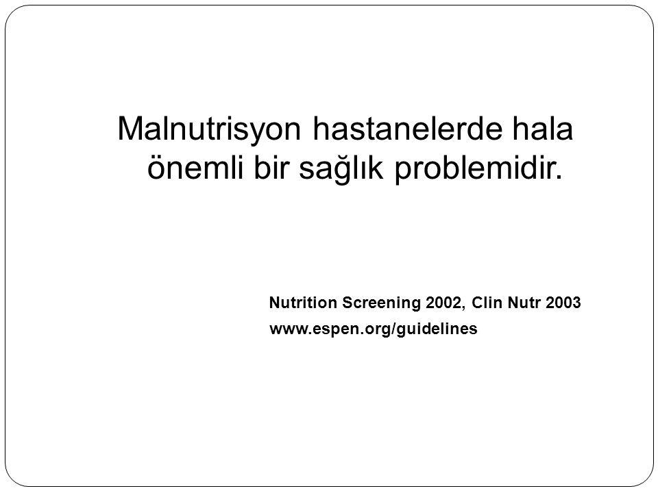 Malnutrisyon hastanelerde hala önemli bir sağlık problemidir. Nutrition Screening 2002, Clin Nutr 2003 www.espen.org/guidelines