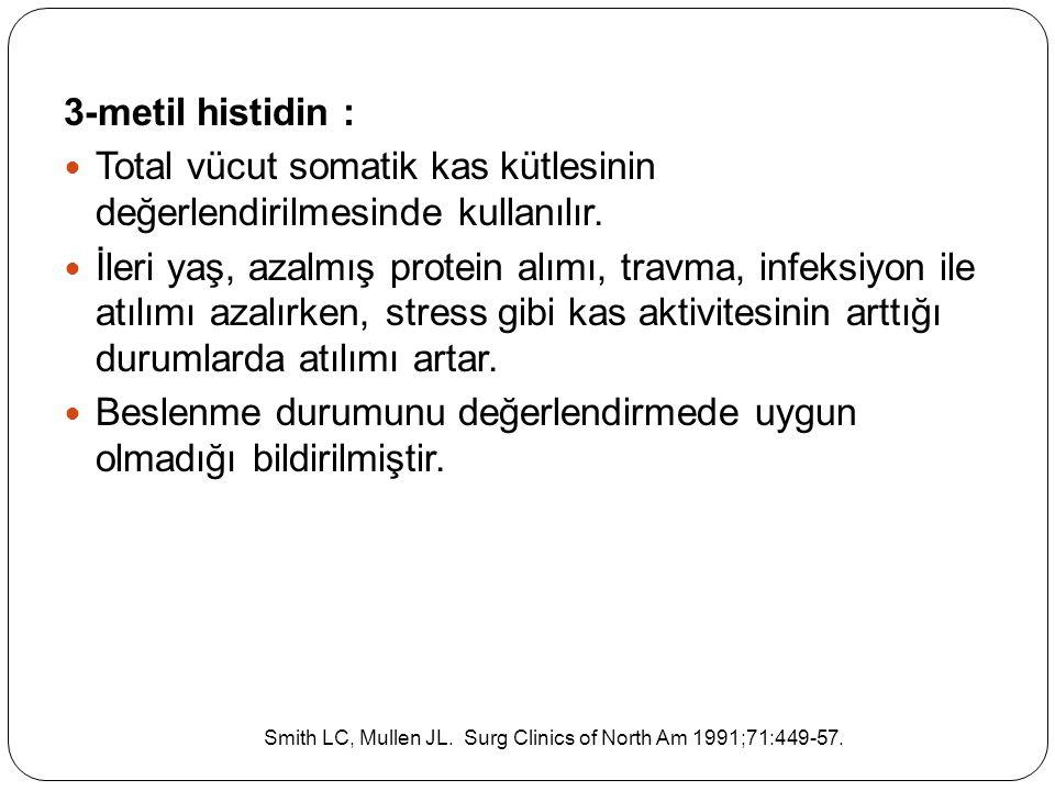3-metil histidin : Total vücut somatik kas kütlesinin değerlendirilmesinde kullanılır. İleri yaş, azalmış protein alımı, travma, infeksiyon ile atılım