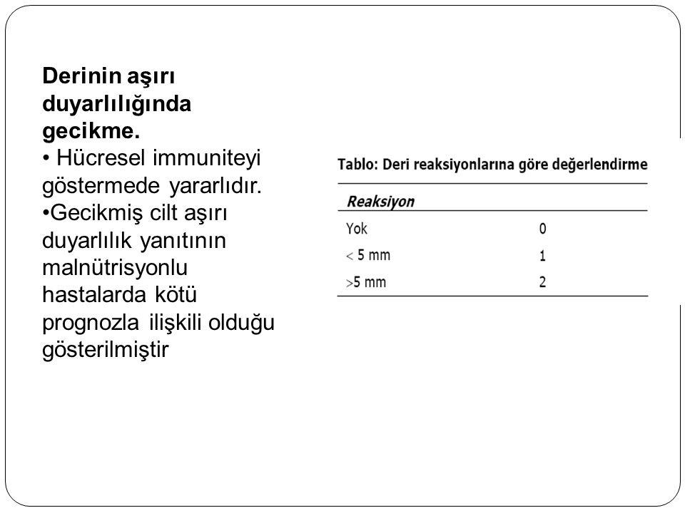 Derinin aşırı duyarlılığında gecikme. Hücresel immuniteyi göstermede yararlıdır. Gecikmiş cilt aşırı duyarlılık yanıtının malnütrisyonlu hastalarda kö