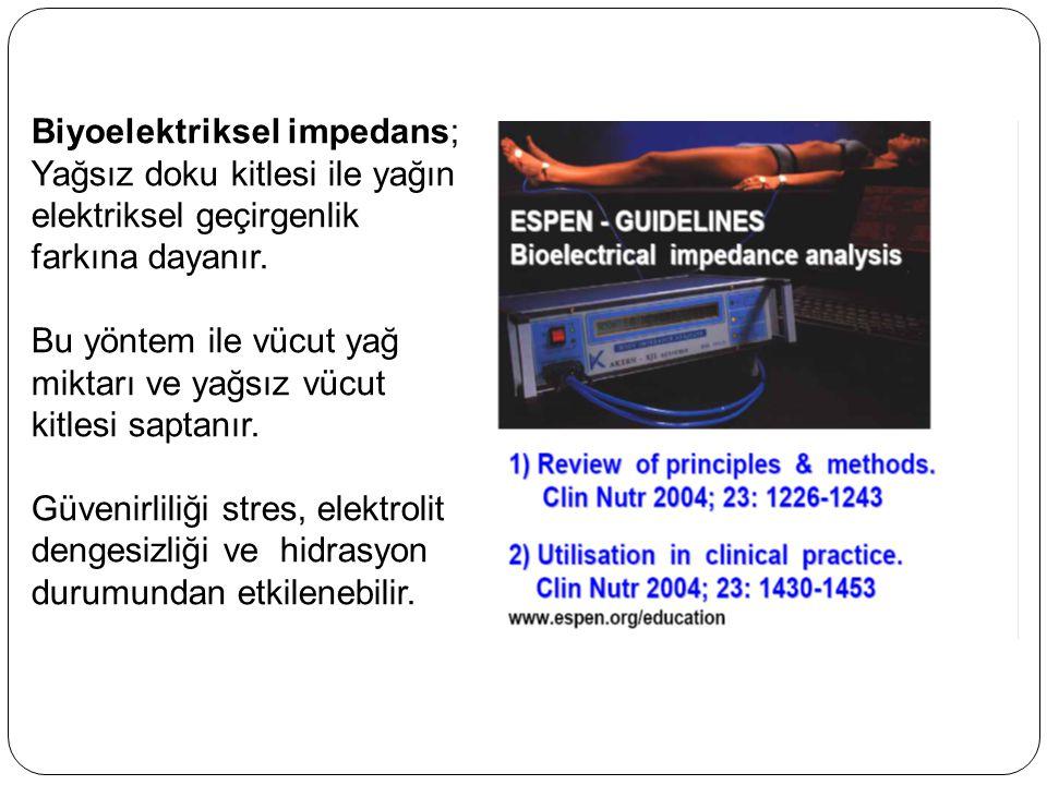 Biyoelektriksel impedans; Yağsız doku kitlesi ile yağın elektriksel geçirgenlik farkına dayanır. Bu yöntem ile vücut yağ miktarı ve yağsız vücut kitle