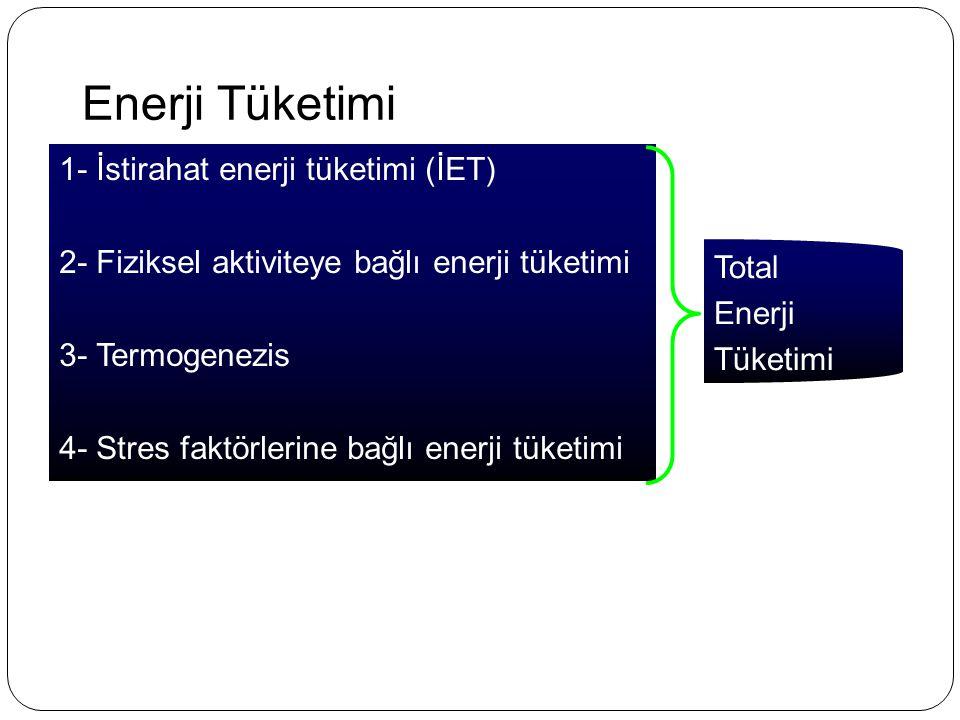 Enerji Tüketimi 1- İstirahat enerji tüketimi (İET) 2- Fiziksel aktiviteye bağlı enerji tüketimi 3- Termogenezis 4- Stres faktörlerine bağlı enerji tük