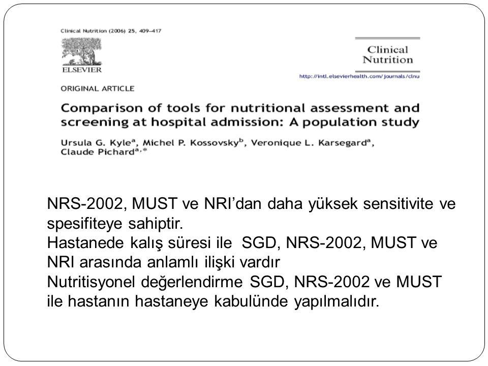 NRS-2002, MUST ve NRI'dan daha yüksek sensitivite ve spesifiteye sahiptir. Hastanede kalış süresi ile SGD, NRS-2002, MUST ve NRI arasında anlamlı iliş