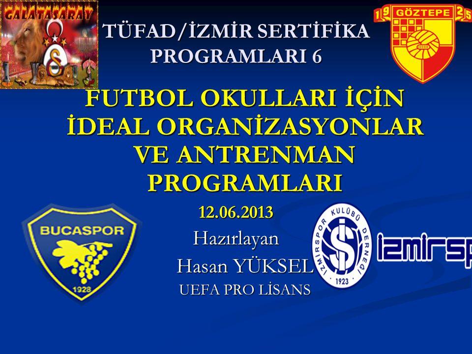 TÜFAD/İZMİR SERTİFİKA PROGRAMLARI 6 FUTBOL OKULLARI İÇİN İDEAL ORGANİZASYONLAR VE ANTRENMAN PROGRAMLARI 12.06.2013Hazırlayan Hasan YÜKSEL UEFA PRO LİS