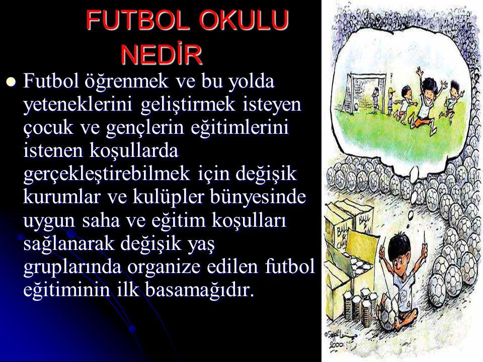 FUTBOL OKULUNUN ÇOCUK VE GENÇLERE KAZANDIRDIĞI ÖZELLİKLER Futbol sporu yolu ile çocukların bedensel,sosyal,zihinsel ve psikolojik gelişimlerini hedefler.