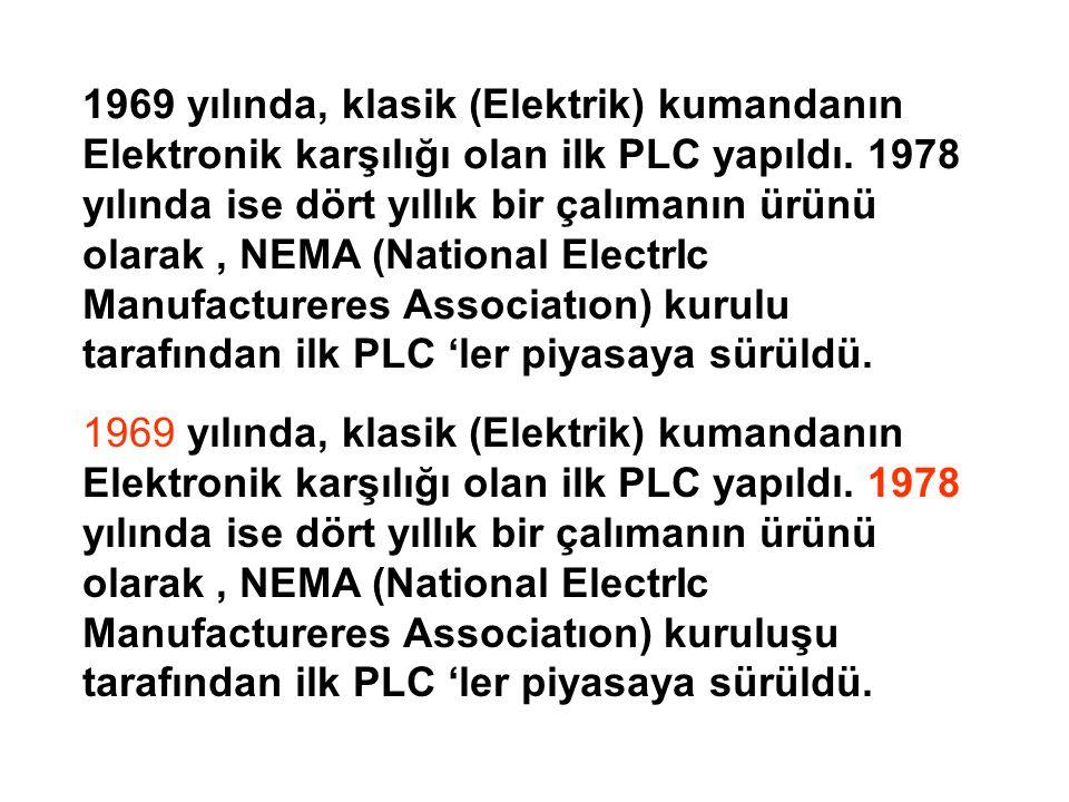 1969 yılında, klasik (Elektrik) kumandanın Elektronik karşılığı olan ilk PLC yapıldı.