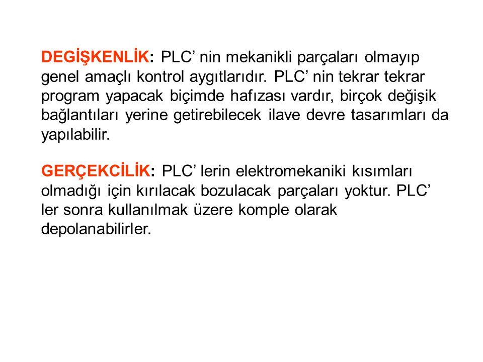 DEGİŞKENLİK: PLC' nin mekanikli parçaları olmayıp genel amaçlı kontrol aygıtlarıdır.