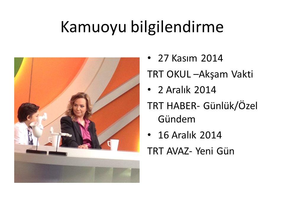 27 Kasım 2014 TRT OKUL –Akşam Vakti 2 Aralık 2014 TRT HABER- Günlük/Özel Gündem 16 Aralık 2014 TRT AVAZ- Yeni Gün