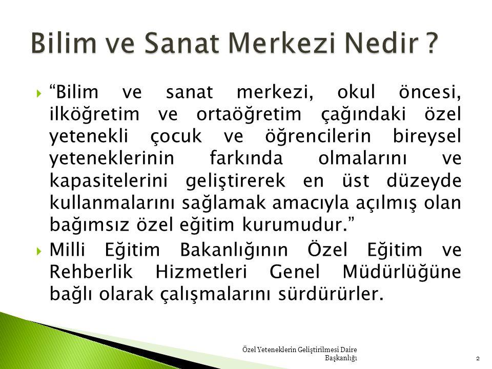  Bir yandan üstün yetenekli çocuklara ve gençlere, yeteneklerini geliştirme fırsatını sunamamak, öte yandan endüstrinin işe yarar insan ihtiyacına cevap verememek gibi noktalardan hareketle kuruluşuna başlanan (BİLSEM) ' ler şuan Türkiye 'nin 74 ilinde faaliyet göstermektedir.